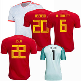 b39625a5b Spain 2018 2019 A.INIESTA RAMOS Asensio MORATA SILVA ISCO SAUL DE GEA Soccer  Jersey 18 19 national team goalkeeper home away football shirt