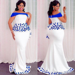 $enCountryForm.capitalKeyWord Australia - Plus Size Mermaid Prom Dresses White Satin Royal Blue Appliques Evening Gowns Off Shoulder Zipper Back South African Cocktail Party Dress
