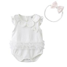 87d96d43d35 High quality baby clothing Cute style baby romper summer sleeveless  sunflower O-neck Design romper + headband 100% cotton girl summer romper