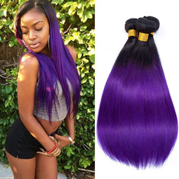 $enCountryForm.capitalKeyWord NZ - Fashionable 1b Purple Ombre Hair Extensions Cheap Straight Virgin Brazilian Human Hair Ombre Weaves Top Quality 3 Bundles