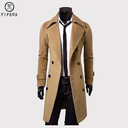 High Quality Pea Jacket Australia - Long Wool Coat Men 2018 High Quality Men Trench Coat Winter Wool Blends Pea Jacket Slim Fit Mens Overcoat Manteau Homme 3XL