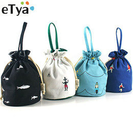 canvas drawstring pouch NZ - Gift Bags for Children Cotton Canvas Pouch Casual Bucket Shape Drawstring Bags Storage High Quality Printing Coin Purses