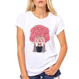 flower girl tee shirts 2019 - Women's Tee Vintage Retro Good Feeling T Shirt Top Tees Young Pink Flower Girl Drawing Peony Flowers discount flowe