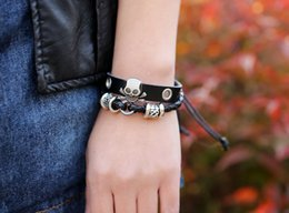 steel blast NZ - New Bracelet Beaded Bracelet Leather Bracelet Wholesale Retro Factory Outlet Blasted Guarantee Bump The Korean Version Europe and the United