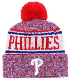 Military green arMy beanies online shopping - Top Selling Phillies beanie beanies Sideline Cold Weather Reverse Sport Cuffed Knit Hat with Pom Winer Skull Caps
