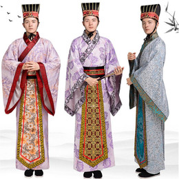 chinese costumes men Canada - Long Robe for Men Chinese Traditional Costume Male Hanfu Clothing National Chinese ancient scholar gown TV film performance stage wear