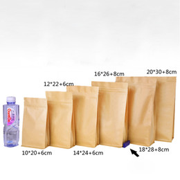 $enCountryForm.capitalKeyWord Australia - 6 Size Zipper Brown Kraft Paper Pouch Doypack Stand up Resealable Zip Lock Grip seal Food Grade Packaging Bags for Dried Fruits Food Nuts