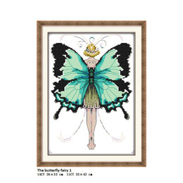 Chinese  The butterfly fairy 1 Pattern 11CT Printed Fabric 14CT Canvas DMC Chinese DIY Hand Cross-stitch set Embroidery Needlework factory wholesale manufacturers
