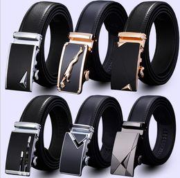Discount wholesale belts for men - men's leather belt Fashion automatic buckle strap for Business Luxury casual s Waist Strap Belt Waistband 80 design
