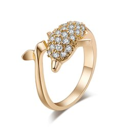 Cluster Rings For Womens UK - 18K Yellow Gold Plated Full Paved Cubic Zircon CZ Dolphin Animal Finger Ring Fashion Womens Jewelry Bijoux for Party Wedding
