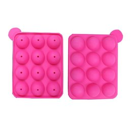 Chinese  12 wells Silicone Tray Pop Lollipop Pops Mould Case Cupcake Baking chocolate Mold Party Kitchen Tools 10pcs lot manufacturers