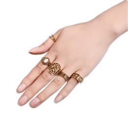f36cb151541fb9 5 PCS set Vintage Hand Knuckle Opal Finger Ring Set For Women Leaf Flower  Totem Carved Rings Ethnic Boho Statement Set