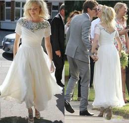 Short Formal Wedding Dress NZ - Beautiful Short Wedding Dresses Ball Sequins Chiffon Beach Garden Tea Length Country Custom Vestido de novia Formal Bridal Gown Bride Dress