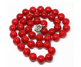 red coral fashion jewelry Canada - Fashion Red Coral 8mm Round Beads GEMSTONE Necklace Jewelry