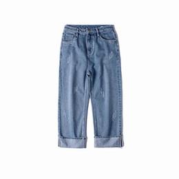 $enCountryForm.capitalKeyWord UK - Korea Style Classic Symbol Worn-out Roll Up Legs Men Baggy Jeans 2018 Autumn Casual Cowboy Haren Pants Denim Male Trousers S-2XL