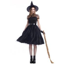 cc5ef9e90f Novo produto de quatro peças preto bruxa traje bruxa terno halloween dress  set cosplay desgaste máscara dance party magician clothing