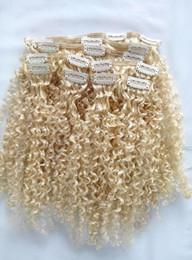 $enCountryForm.capitalKeyWord Canada - Fashionable Brazilian Clip In Human Virgin Kinky Curly Hair Extensions Remy Blonde 613# Clip In Hair Extensions 120g One Set