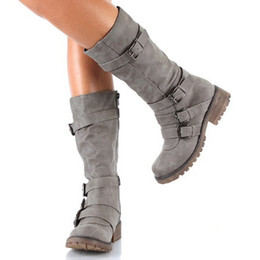 b4ed742831c3 NIS Motorcycle Punk Women Mid-Calf Winter Boots Zipper Casual Women Shoes  Woman Knight Boots Combat Shoes Botas Mujer Zapatos