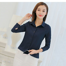 0a1b80455e47e women blouse office shirt summer autumn long sleeve white pink red navy  blue work wear korean formal tops female clothing