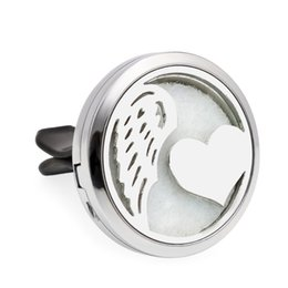 silver diffuser locket Australia - Heart with wing & Rose Aroma locket Essential Oil Car Diffuser Locket air Fresh Vent Clip Pendant Perfume locket Magnetic Randomly 10 Pads