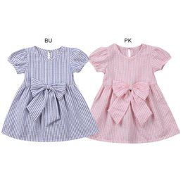 $enCountryForm.capitalKeyWord NZ - Infant Toddler Baby Girl Cute Big Bow Striped Princess Dress Casual Sundress Playsuit For 6-24M