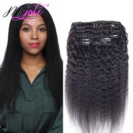 KinKy hair clips online shopping - Indian Human Hair G Kinky Straight Clip In Human Hair Extensions Natural Color Kinky Straight Yaki Human Hair Weaves From Msjoli