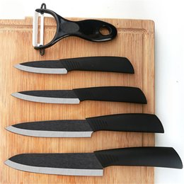 kitchen gift sets NZ - Top quality Gifts Zirconia black blade black handle Peeler Include covers ceramic kitchen knife set
