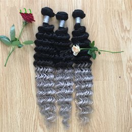 $enCountryForm.capitalKeyWord Australia - Two Tone 1b Grey Human Hair Weaves Sliver Gray Deep Wave Curly Grey Hair Extensions 3Pcs Lot Gray Dark Root Bundles