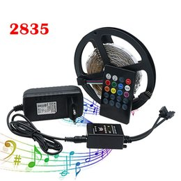 12v Music Controller NZ - 5M 2835 SMD RGB Waterproof Non-waterproof LED Strip Light With Music Remote Controller 12V Power Supply