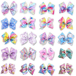 Discount diamond hair design - 20 design Girls Unicorn 8 inch Hair Bows big Bowknot Rainbow Diamond Bowknot Hairpins Headwear Bobbles Kids Hiar Accesso