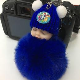 Custom Plastic Figures Australia - Sleeping Baby Dream Hair Ball Pendant Pacifier Sleeping Dolls Christmas Ornament Gift Sleep Baby Fur Custom Keychain Hairball Pendants