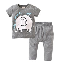 21a2611f7 2018 Summer style Baby Boy Clothes Newborn Toddler Elephant Cartoon T-shirt+Striped  Pants 2 Pcs Infant Clothing Set