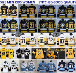 Troisième maillot des Penguins de Pittsburgh 87 Sidney Crosby 71 Evgeni Malkin Phil Kessel Kris Letang Hagelin Lemieux Murray Maatta Guentzel