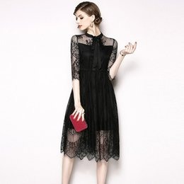 8a1c1bfb1727 Women Lace Dress Party Formal Prom Dresses Vintage Long Sleeve with Bow  Casual Little Black Dress