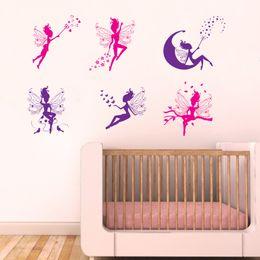Dessin animé six petit sticker mural pour chambre d'enfants filles décoration bricolage art stickers fond mignon décorations en Solde