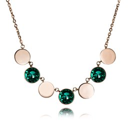 Simple model necklace online shopping - rose gold new model simple colorful round Separated big model copper gem middle long necklace