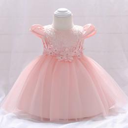 $enCountryForm.capitalKeyWord NZ - Baby dress christening Little flower princess dress Baby bright pearl Fly sleeves and Flying sleeves pink wedding dress good workmanship