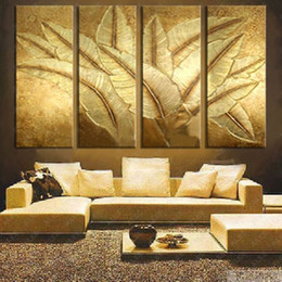 japanese wall canvas Canada - 4 Panel Pictures Hand-painted Gold Japanese Banana Leaf Oil Painting Modern Abstract 4 Piece Canvas Art Paintings Wall Decor