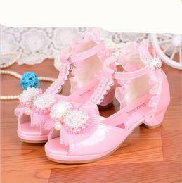 China 2018 Girls Princess Shoes Dress Korean Child Fish mouth High-heeled Sandals Kids Performance 61 White shoes cheap fish mouth high heels shoes suppliers
