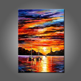 sunset seascape paintings Canada - Sunset Landscape Oil Painting On Canvas Beautiful Sunrise Painting For Living Room Decor Handmade Abstract Landscape Oil Painting
