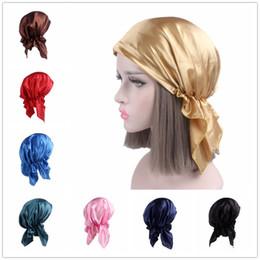 Discount gold color print scarves - Women New Solid Color Chemotherapy Cap Silk Bandana Head Scarf Women Night Sleeping Cap Pre Tied Cap Turban