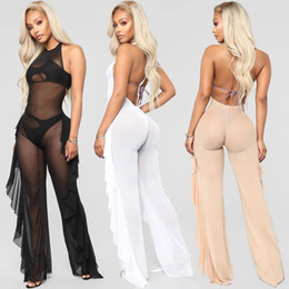 $enCountryForm.capitalKeyWord NZ - 2018 Women New Fashion Sexy Mesh Jumpsuits See Through Playsuits Bandage bodycon Winter Vestidos Rompers Party Evening club Casual Bodysuits