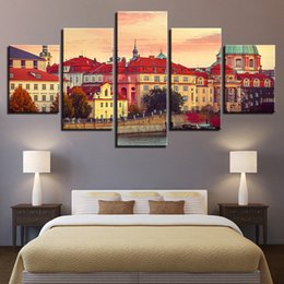 $enCountryForm.capitalKeyWord NZ - Wall Art Painting HD Printing Decor Living Room 5 Pieces European Building Beautiful Landscape Canvas Pictures Modular Framework