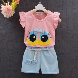 Baby Girl Summer Suits Australia - Fashion Brand Summer Infant Baby Girl Clothing Sport Lovely Long Eyelashes Toddler Girl Vest Pants Pure Cotton Suit Kids Clothes