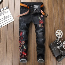 $enCountryForm.capitalKeyWord Canada - 2018 Plus Size Men Jeans Embroidery Casual Ripped Jeans Skinny Floral Denim Punk Pants Trousers Cowboys Young Man