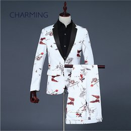 Wholesale Mens suit styles Chinese ink landscape goldfish pattern printing fabric Suitable for wedding host singers Men s piece suits Jacket Pant