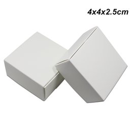 diy handmade crafts NZ - 4x4x2.5 cm White Kraft Paper DIY Handmade Soap Baking Box for Bakery Cake Chocolate Cardboard Gifts Wedding Party Crafts Storage Package Box