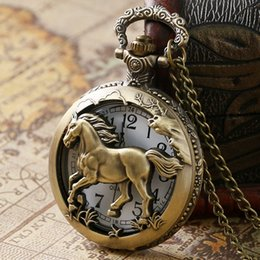Pocket Clock Skeleton Canada - Unisex Gift Vintage Horse Half Hunter Pocket Watch Men Skeleton Steampunk Quartz Clock Retro Mini Pocket Watch in Gift Bag