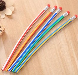 Discount colorful erasers - New Cute Stationery Colorful Magic Bendy Flexible Soft Pencil with Eraser Student School Office Use