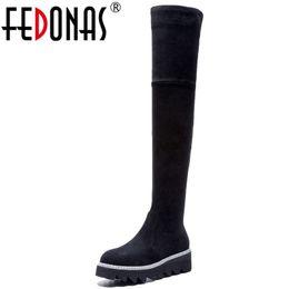 $enCountryForm.capitalKeyWord UK - FEDONAS Women Elastic Tight High Boots Autumn Winter Snow Women Boots Fashion High-heeled Over The Knee High Platforms